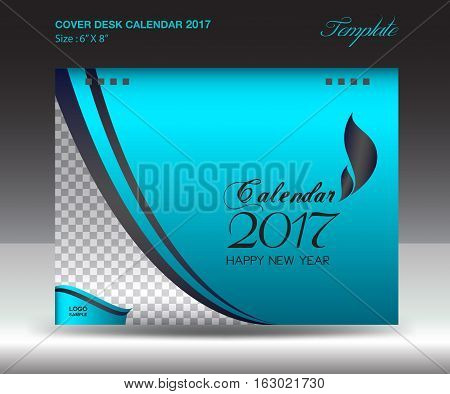Desk calendar 2017 year Size 6x8 inch horizontal, nude Cover design, Business brochure flyer template, advertisement