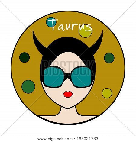 Taurus zodiac sign. Icon with fashionable woman face with trendy hairstyle and circles background. Girl Userpic