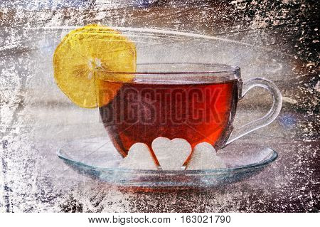 Hot cup of tea with a lemon on the table pieces and sugar. Photos in a grunge style.