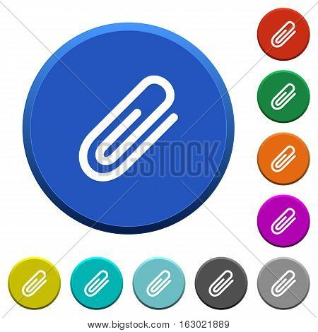 Attachment round color beveled buttons with smooth surfaces and flat white icons