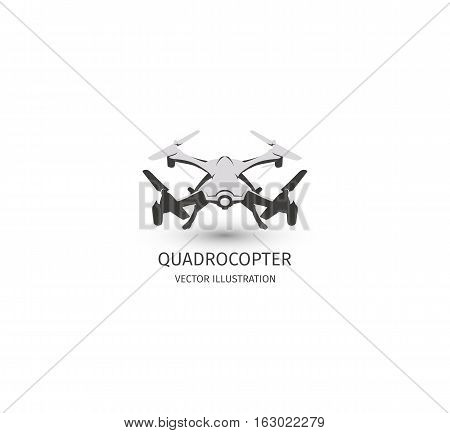 Isolated rc drone logo on white. UAV technology logotype. Unmanned aerial vehicle icon. Remote control device sign. Surveillance vision multirotor. Vector quadcopter illustration poster