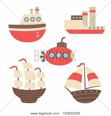 Vector set of ships, the steamers, the submarine. illustration for children