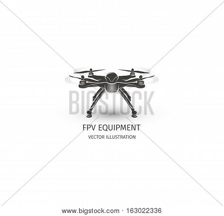 Isolated rc drone logo on white. UAV technology logotype. Unmanned aerial vehicle icon. Remote control device sign. Surveillance vision multirotor. Vector quadcopter illustration