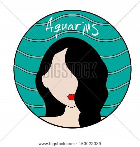 Aquarius zodiac sign. Vector icon with fashionable woman face and wavy background