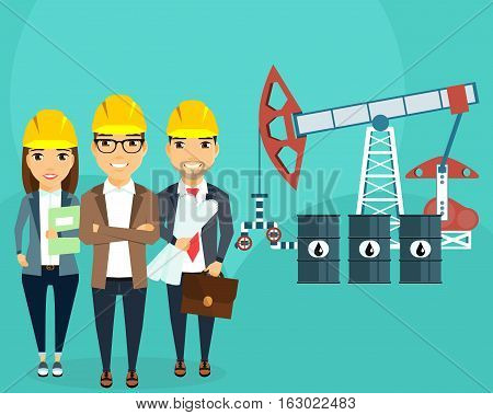 The development of oil fields. Construction of an oil well. A young team of engineers. Happy people
