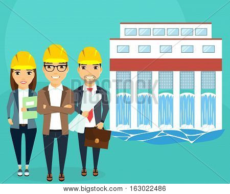 Construction of hydroelectric power. Converting water flow into electrical energy. A young team of engineers. Happy people