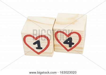 Wooden cubes with handwritten 14th and red hearts. Isolated on a white background.