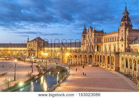 Plaza de Espana in the evening in Seville Andalusia Spain