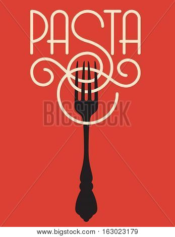 Pasta vector design. Vector logo or badge featuring the word pasta spelled out of spaghetti or linguine with the ornate S wrapping around a fork.