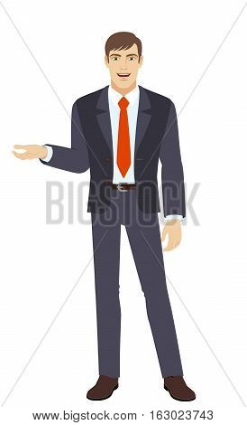 Businessman gesturing. Businessman shows something beside of him. Full length portrait of businessman in a flat style. Vector illustration.