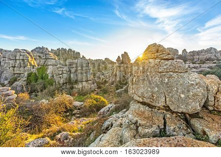 Picturesque rocks on sunset in El Torcal de Antequera natural park Andalusia Spain