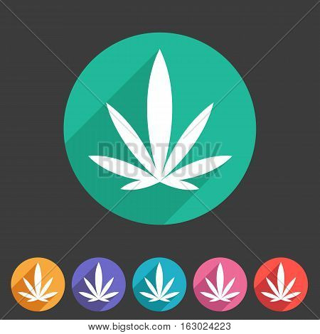 marijuana cannabis icon flat web sign symbol logo label