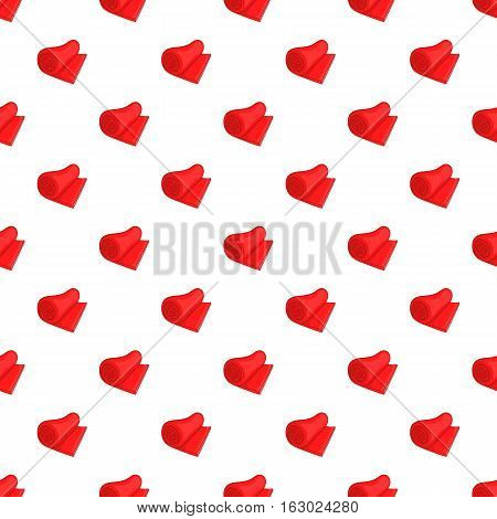 Rolled red towel pattern. Cartoon illustration of rolled red towel vector pattern for web