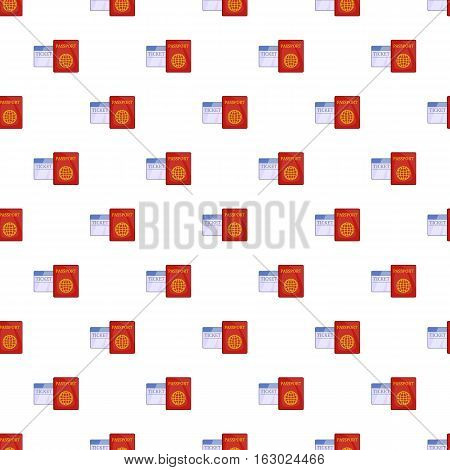Passport and air ticket pattern. Cartoon illustration of passport and air ticket vector pattern for web