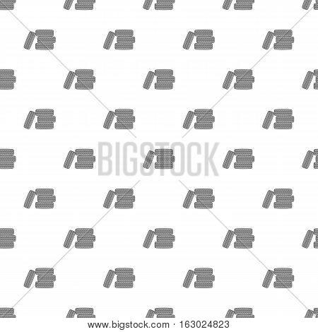 Pile of black tires pattern. Cartoon illustration of pile of black tires vector pattern for web