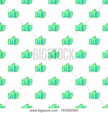 Green paintball glove pattern. Cartoon illustration of green paintball glove vector pattern for web