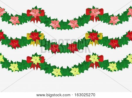 Red Poinsettia Flowers Set On White