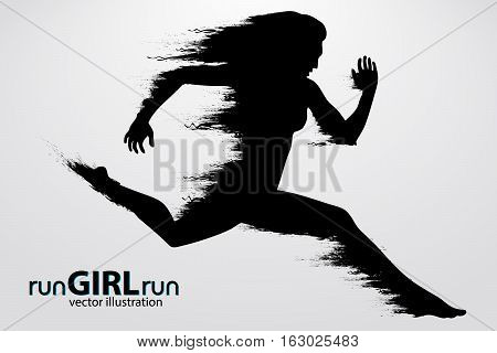 Silhouette of a running female. Text and background on a separate layer, color can be changed in one click. Running. vector illustration