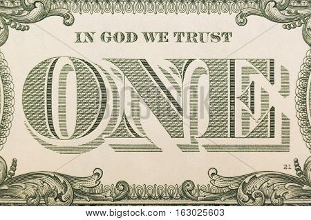 In God we trust - banknote one dollar close-up.