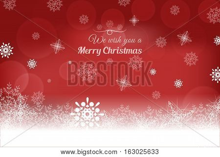 Vector We wish you a Merry Christmas abstract red background with snowflakes and lights.