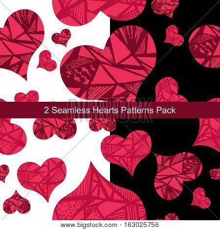 Two seamless abstract hearts patterns pack with white and black background