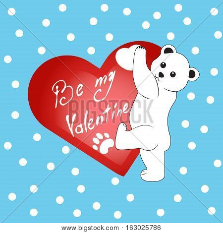 Сute cartoon polar bear with heart Valentine's day be my valentine