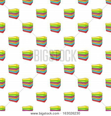 Stack of colored towels pattern. Cartoon illustration of stack of colored towels vector pattern for web