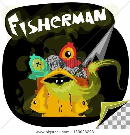 cartoon character of undead fisherman wit his catch