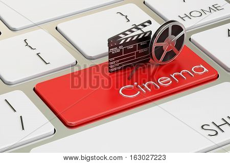 Cinema concept on red keyboard button 3D rendering