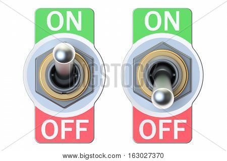 two switches on and off 3D rendering isolated on white background