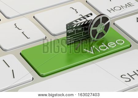 Video concept on green keyboard button 3D rendering