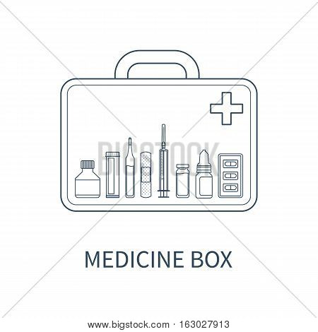 Vector illustration of medicine box with different pharmaceutical items: bottle of pills ampul adhesive bandage injector drops blister package.
