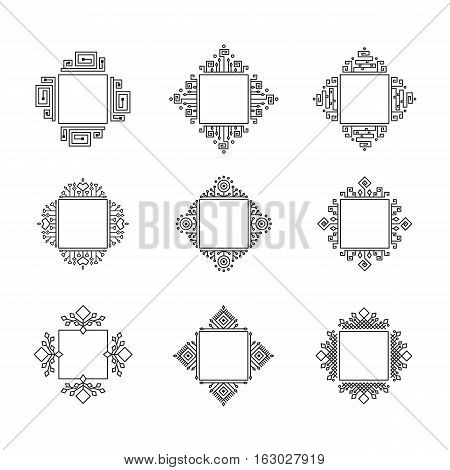Set of vector frames elements for design of monograms geometrical borders.