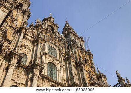 Spain Galicia Santiago de Compostela Cathedral facade afternoon