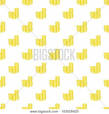 Stack of coins pattern. Cartoon illustration of stack of coins vector pattern for web