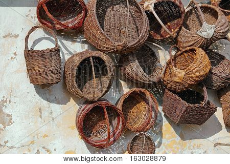 Old Baskets On The Wall