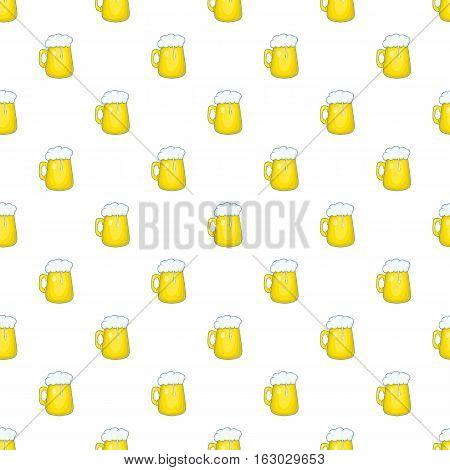 Mug of beer pattern. Cartoon illustration of mug of beer vector pattern for web