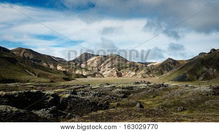 Multicolored rhyolite mountains of amazing Landscape Landmannalaugar in Iceland poster