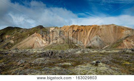 Multicolored rhyolite mountains of amazing Landscape Landmannalaugar in Iceland