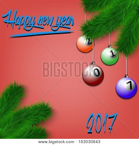 Billiard Balls On Christmas Tree Branch