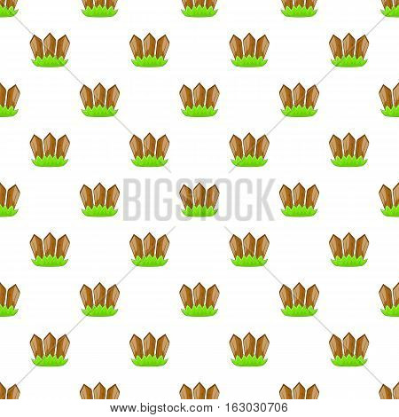 Fence with plants pattern. Cartoon illustration of fence with plants vector pattern for web
