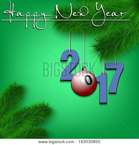 Billiard Ball And 2017 On A Christmas Tree Branch