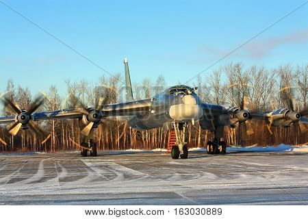 Russian long-range strategic bomber Tu-95 on the parking place