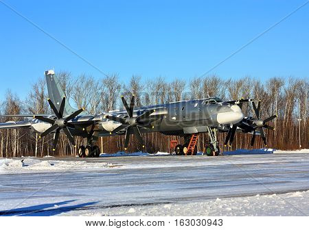 Russian long-range strategic bomber Tu-95 at the air place