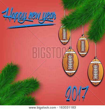 Football Balls On Christmas Tree Branch
