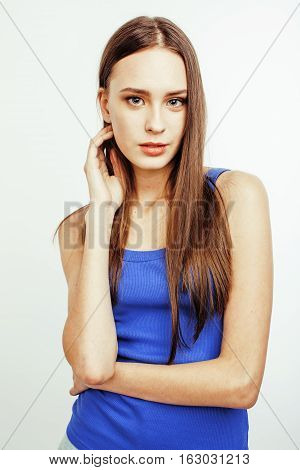 young pretty brunette woman posing emotional isolated on white background thinking, lifestyle people concept close up