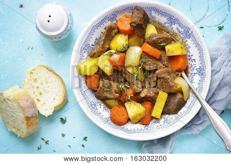 Beef Stew With Vegetables And Thyme.top View.