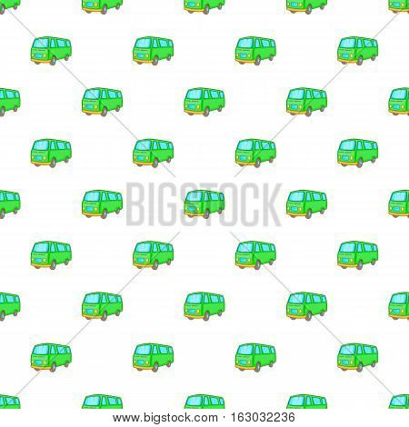 Minibus pattern. Cartoon illustration of minibus vector pattern for web