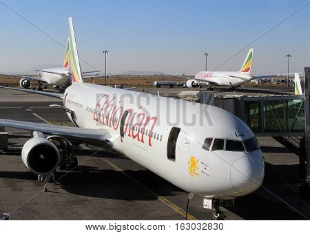 An airplane of Ethiopian Airlines in Addis Ababa airport, Ethiopia, february 2015