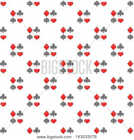 Card suits pattern. Cartoon illustration of card suits vector pattern for web